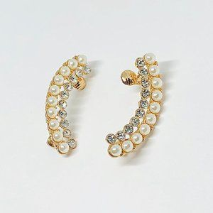 New! Crystal Pearl Ear Climber Earrings Gold